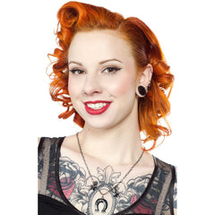 Sourpuss Horseshoe Charm Necklace Silver Rockabilly Western