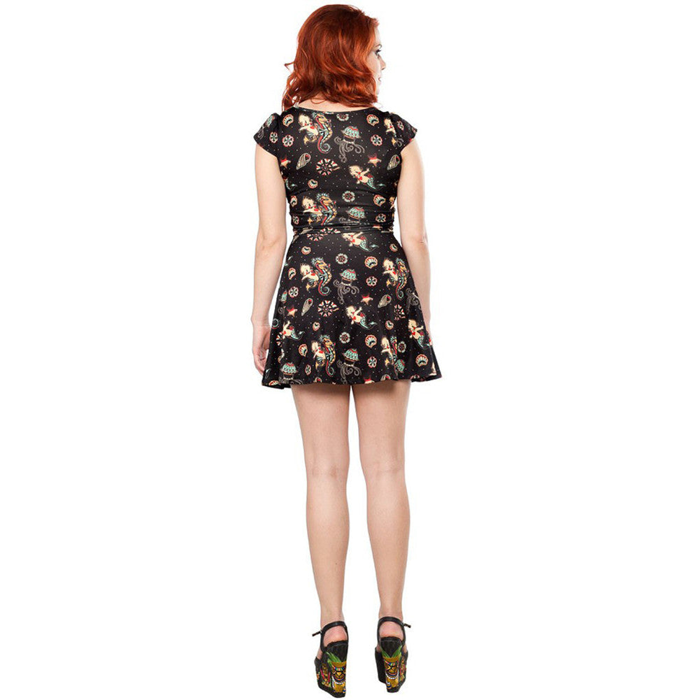 Sourpuss Kewpie Seahorse Skater Dress Tattoo Flash Nautical Rockabilly