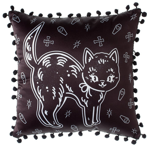 Sourpuss Creep Heart Cat Pillow Halloween Coffins Crossbones Goth Décor
