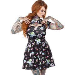 Sourpuss Space Babes Scuba Dress Retro Sci-Fi Planets Spaceships Rockabilly