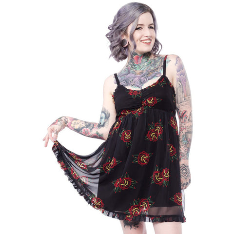 Sourpuss Tattoo Roses Dolly Dress Black Babydoll