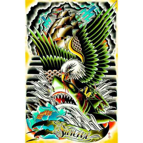 Survive by Tyler Bredeweg Canvas Giclee Traditional Tattoo Art Ship Eagle Shark