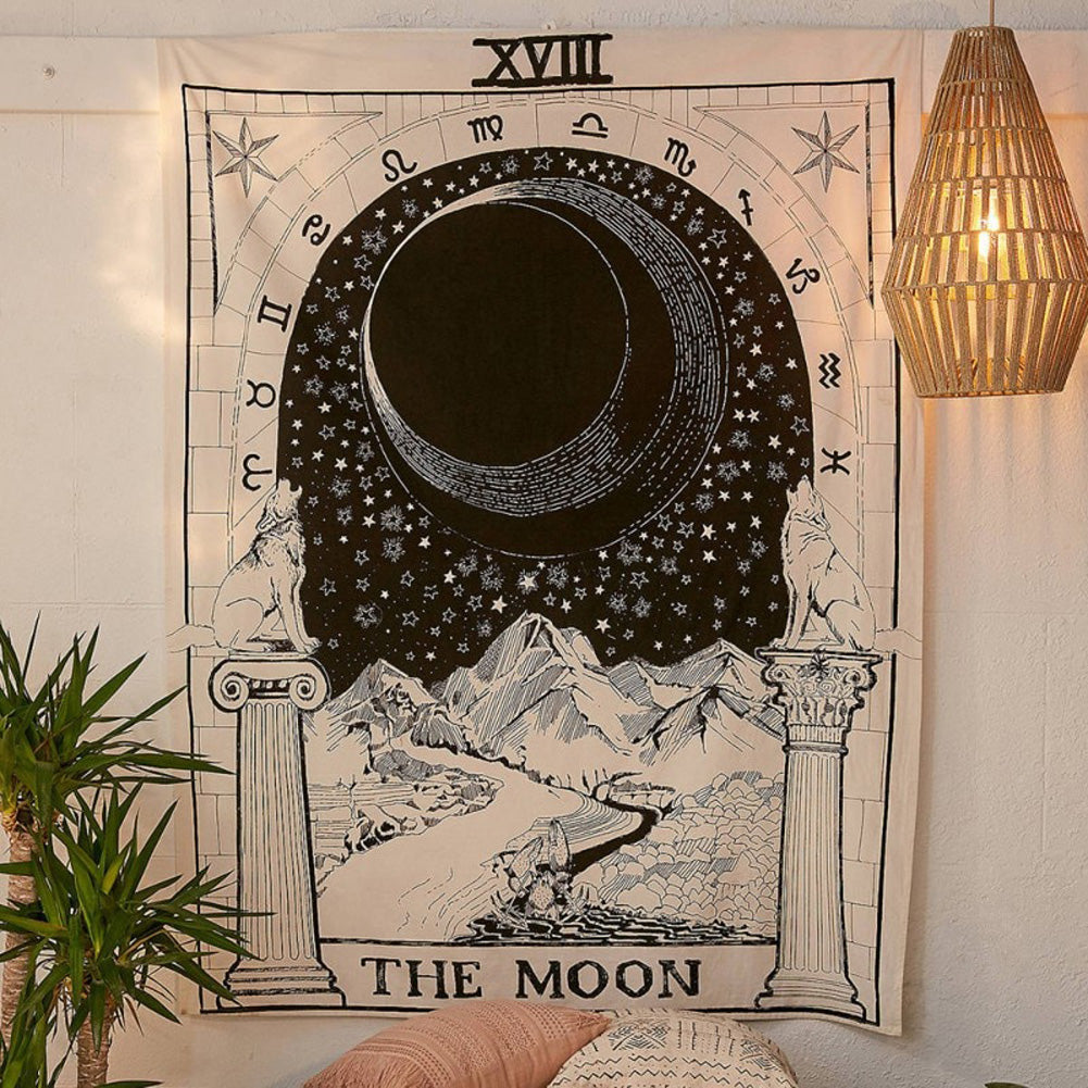 The Moon Tarot Card Tapestry Astrology Mystic Goth Occult Wicca Witch Home Décor