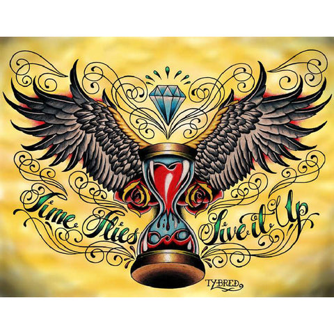 Time Flies by Tyler Bredeweg Canvas Giclee Traditional Tattoo Hourglass Wings