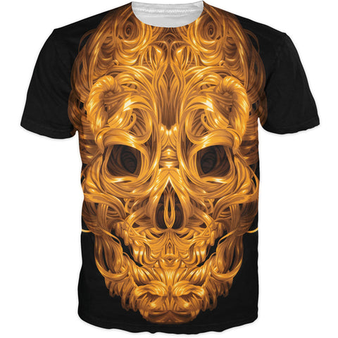 Unisex Aurum Clavariam Golden Skull T-Shirt