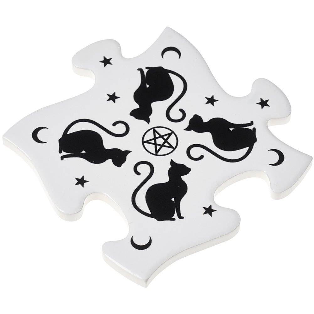 Alchemy of England Black Cats Coaster Set White/Black Goth Occult Moon Pentagram