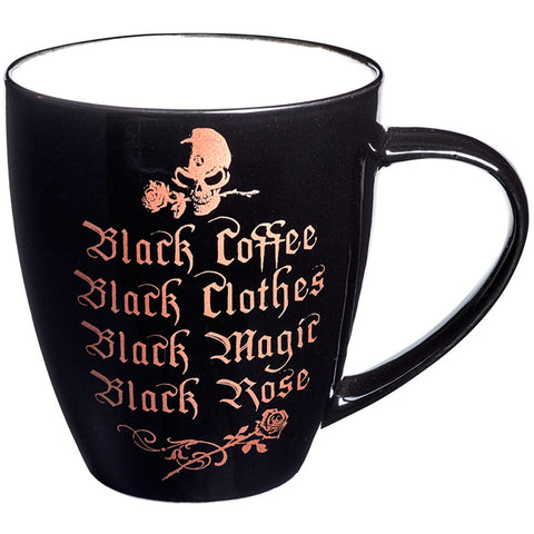 Alchemy of England Black Coffee, Black Clothes Bone China Mug Black Goth Skull