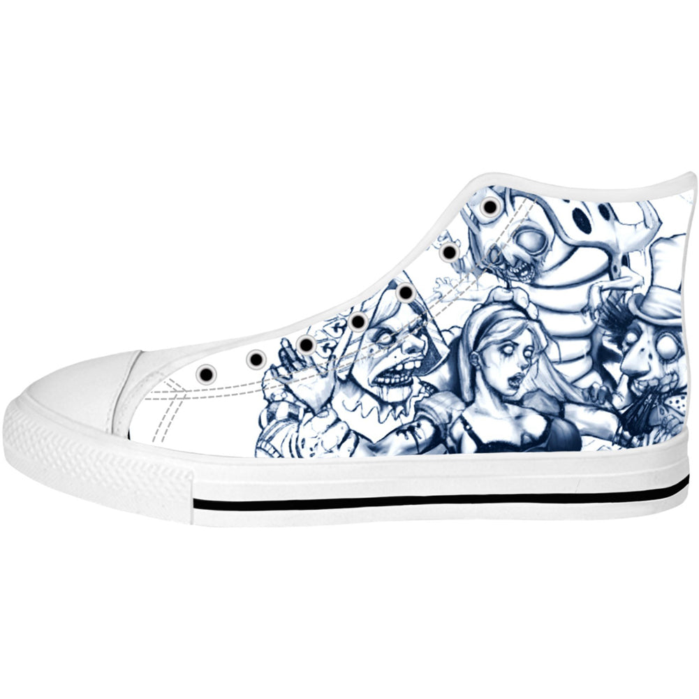 Unisex Alice In Zombie Land High Top Canvas Shoes