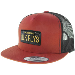 Black Flys Cali Plate Trucker Flatbill Snapback Hat Black/Red License Plate