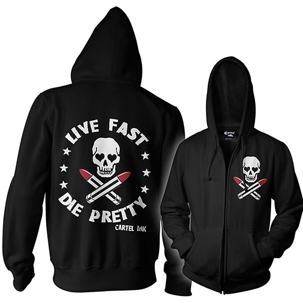 Unisex Cartel Ink Live Fast Die Pretty Zippered Hoodie Skull Lipstick Makeup