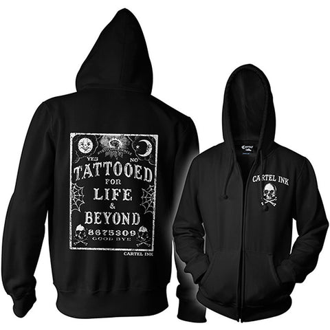 Unisex Cartel Ink Tattooed For Life Zip Hoodie Ouija Board Inked Lifestyle