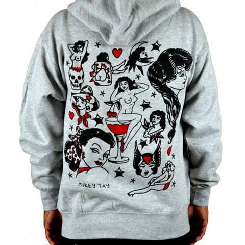 Unisex Cartel Ink Tattooed Ladies Flash Hoodie Grey Traditional Tattoo