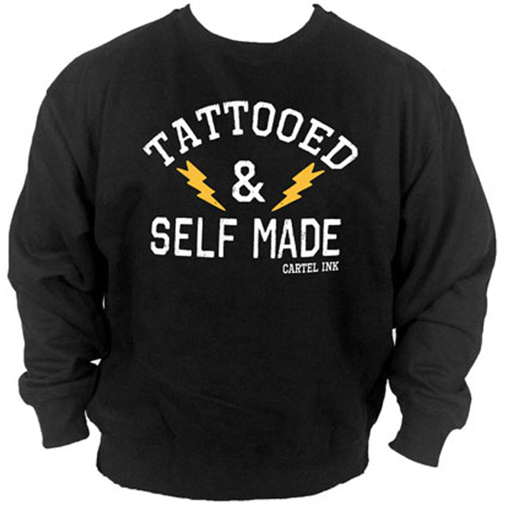 Unisex Cartel Ink Tattooed and Self Made Crew Neck Sweatshirt Black Inked Tattoo