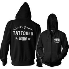 Women's Cartel Ink World's Greatest Tattooed Mom Zippered Hoodie Inked Parent
