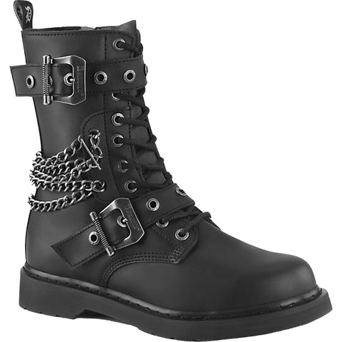 Unisex Demonia BOLT-250 Mid-Calf Combat Boot Black Goth Punk Chains Buckles