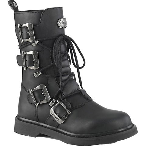 Unisex Demonia BOLT-265 Mid-Calf Combat Boot Black Goth Punk Buckles