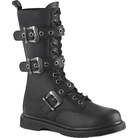 Unisex Demonia BOLT-330 Mid-Calf Combat Boot Black Goth Punk Buckles