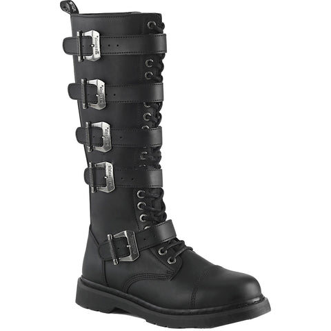 Unisex Demonia BOLT-425 Knee High Combat Boot Black Goth Punk Buckles