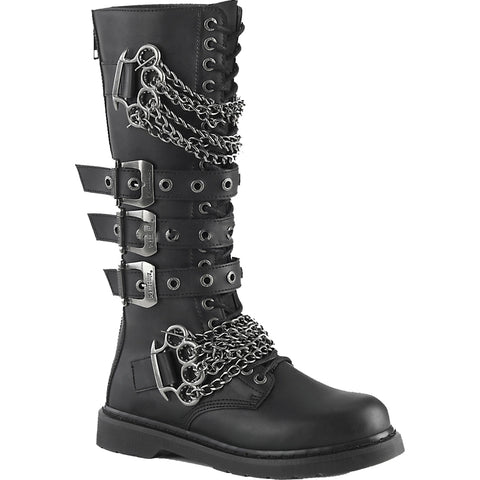 Unisex Demonia BOLT-450 Knee High Combat Boot Black Goth Punk Brass Knuckles