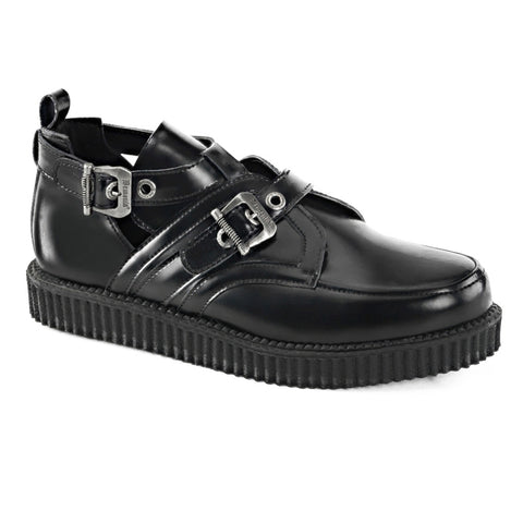Unisex Demonia CREEPER-615 Black Leather Shoe Buckles