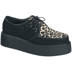 Unisex Demonia Creeper-400 Suede-Cheetah Fur Shoe Black Punk Psychobilly