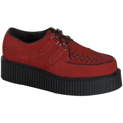 Unisex Demonia Creeper-402S Suede Shoe Red Punk Goth Psychobilly