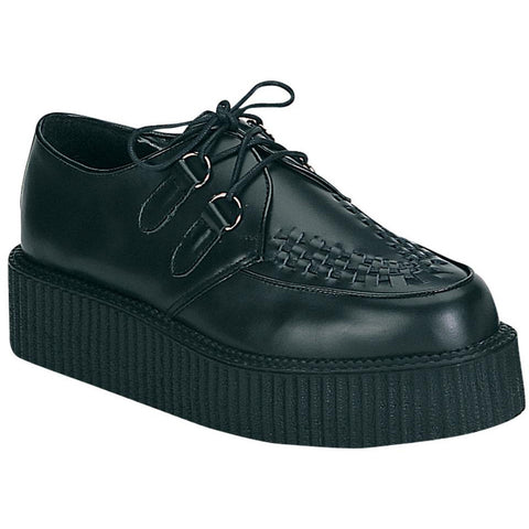 Unisex Demonia Creeper-402 Leather Shoe Black Punk Goth Psychobilly