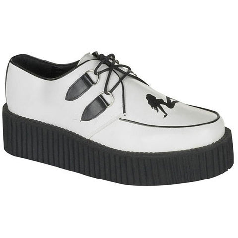 Unisex Demonia Creeper-430 White Leather Truck Girl Shoe White Punk Psychobilly