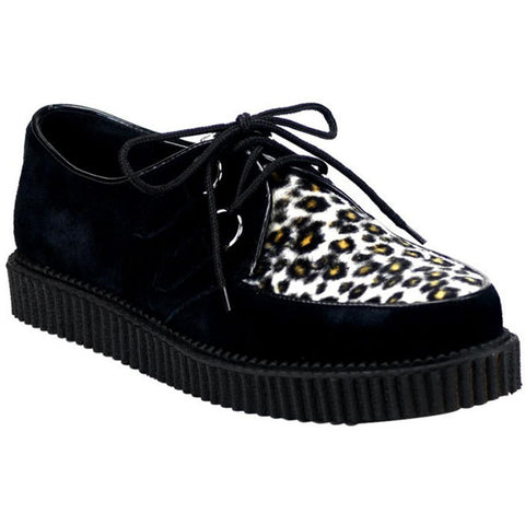 Unisex Demonia Creeper-600 Black Suede-Cheetah Fur Shoe Punk Psychobilly