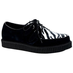 Unisex Demonia Creeper-600 Black Suede-Zebra Fur Shoe Zebra Punk Psychobilly