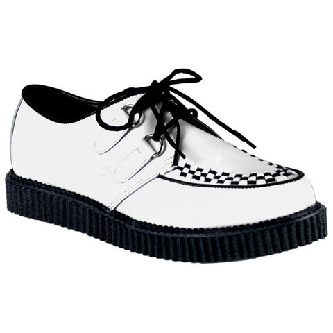 Unisex Demonia Creeper-602 Leather Shoe White Punk Psychobilly