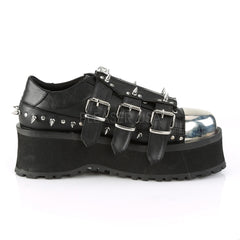 Unisex Demonia GRAVEDIGGER-03 Platform Lace-Up Oxford Black Goth Punk Spikes