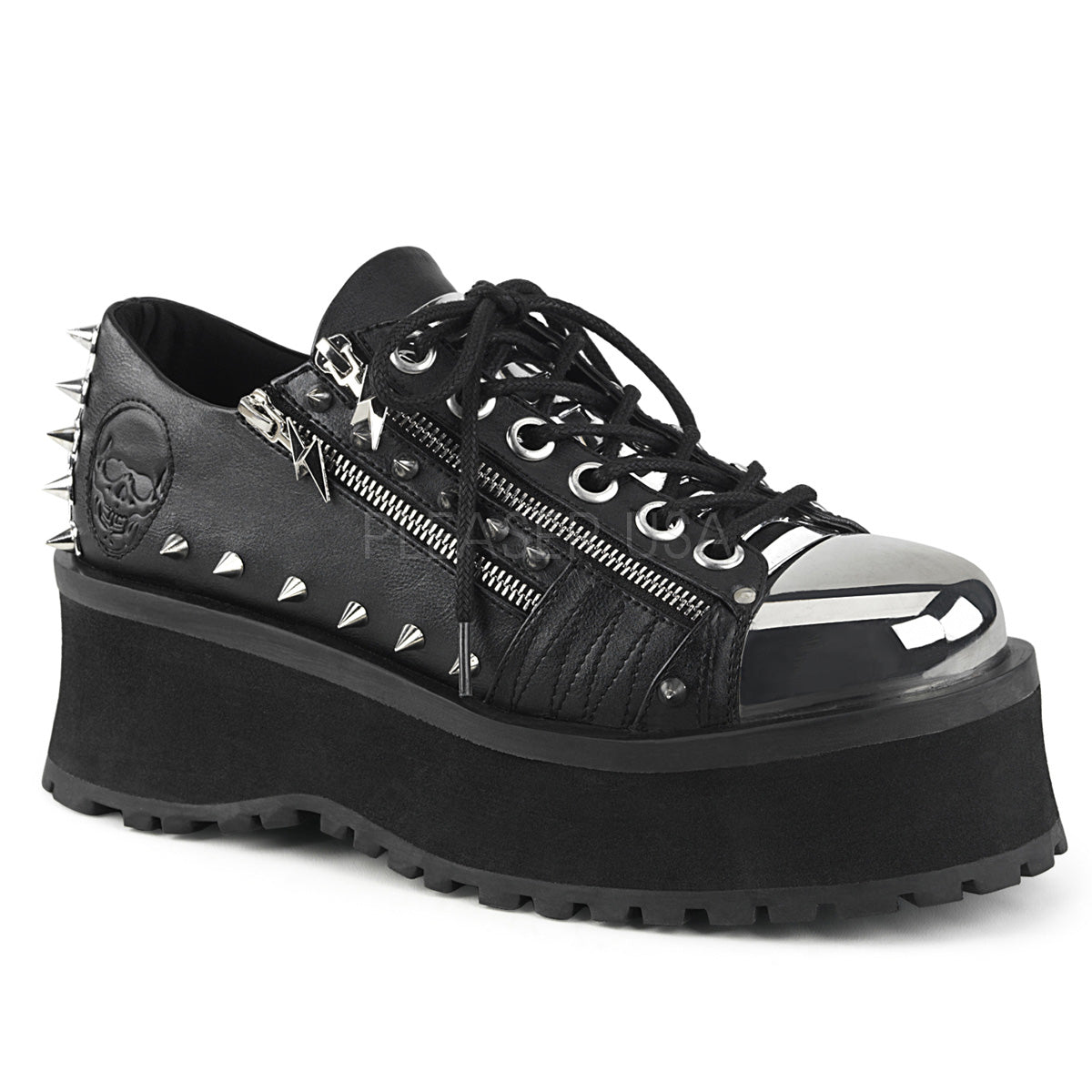 Unisex Demonia GRAVEDIGGER-04 Platform Lace-Up Oxford Black Goth Punk Spikes