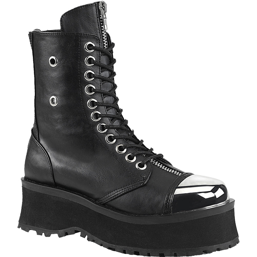 Unisex Demonia GRAVEDIGGER-10 Platform Ankle Boot Black Chrome Toe Goth Punk