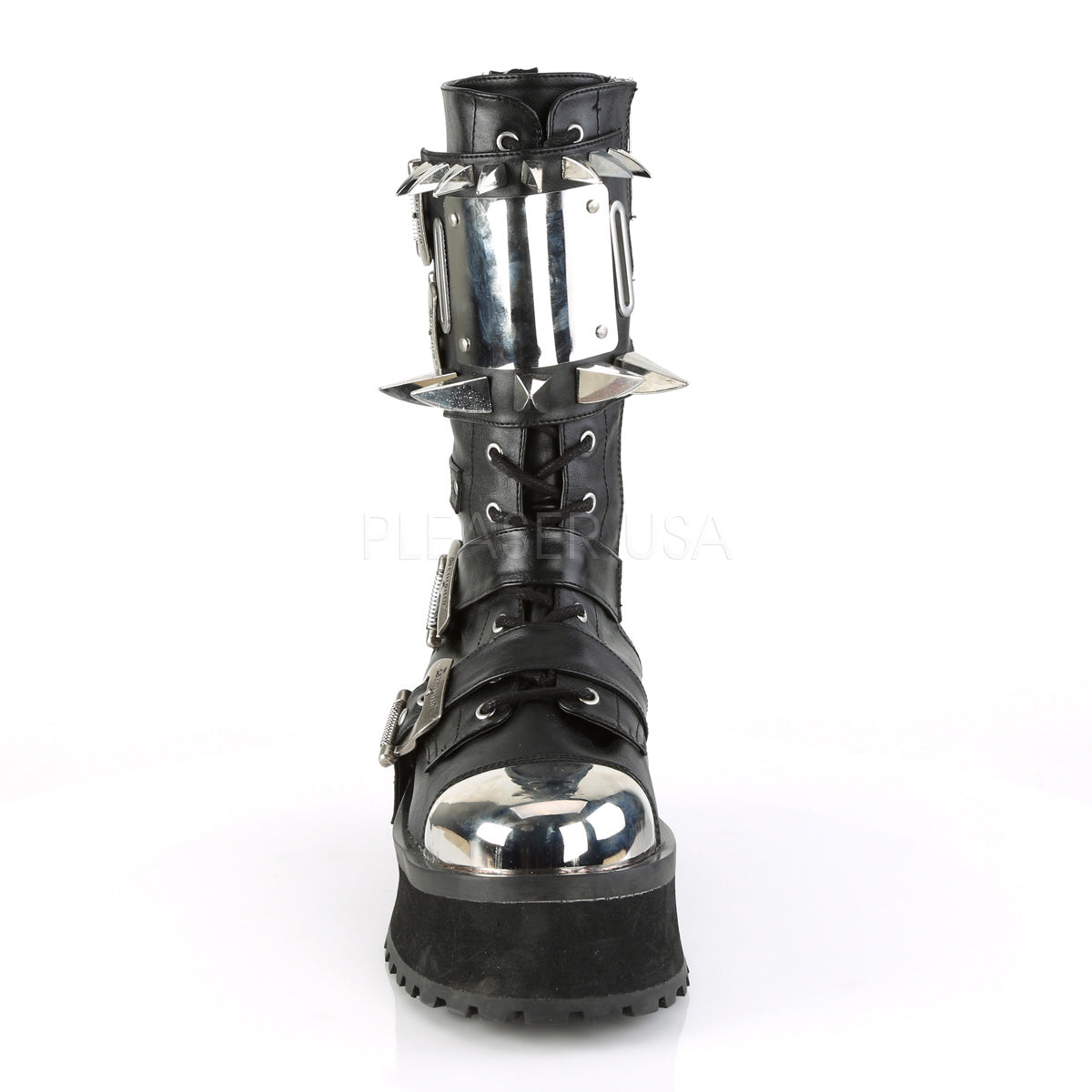 Unisex Demonia GRAVEDIGGER-250 Mid-Calf Boot Black Goth Punk Spikes