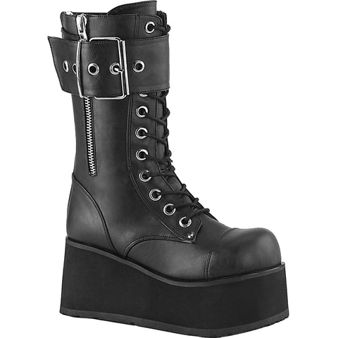 Unisex Demonia PETROL-150 Platform Mid-Calf Boot Black Goth Large Buckle