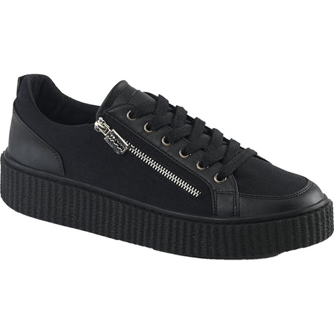 Unisex Demonia SNEEKER-105 Platform Low Top Creeper Sneaker Black Goth Razor