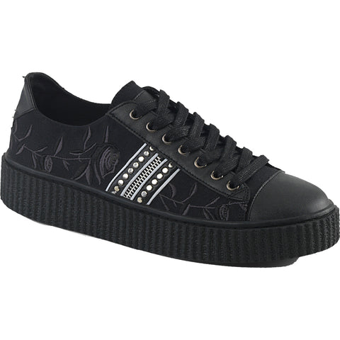 Unisex Demonia SNEEKER-106 Platform Low Top Creeper Sneaker Black Goth Roses