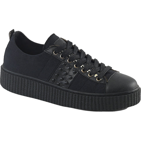 Unisex Demonia SNEEKER-107 Platform Low Top Creeper Sneaker Black Goth Punk