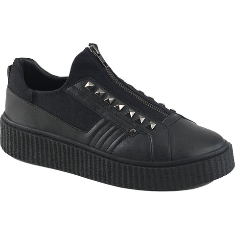 Unisex Demonia SNEEKER-125 Platform Low Top Creeper Sneaker Black Goth Punk