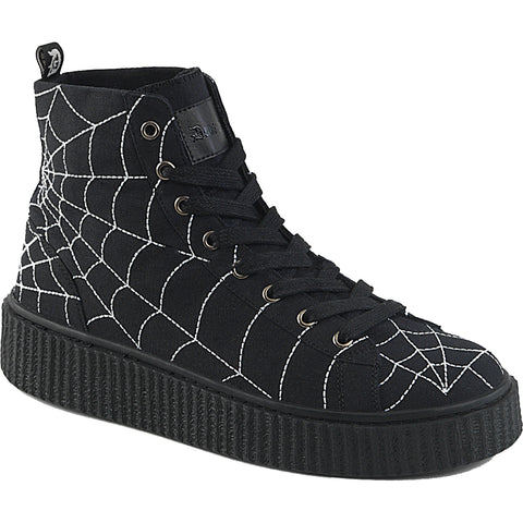 Unisex Demonia SNEEKER-250 High Top Creeper Sneaker Black Spiderweb Goth Punk