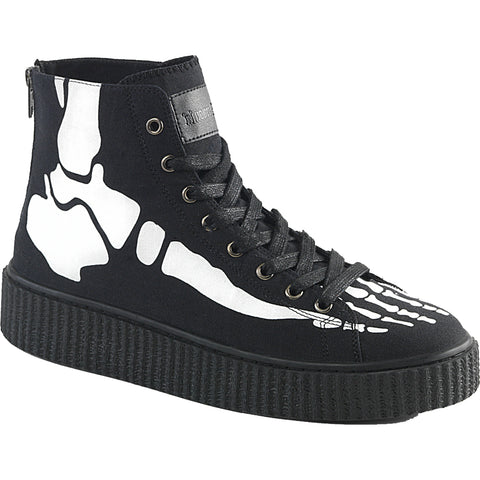Unisex Demonia SNEEKER-252 High Top Creeper Sneaker Black Skeleton Bones Goth