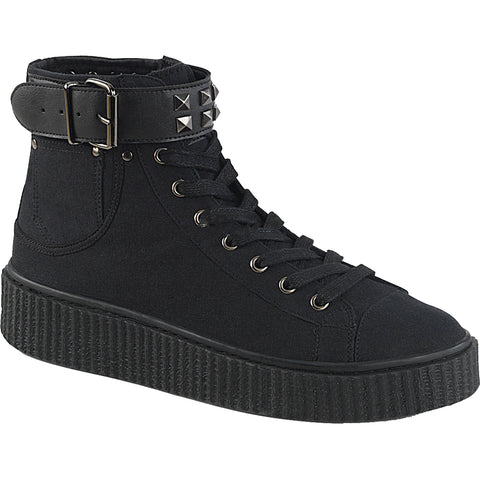 Unisex Demonia SNEEKER-255 High Top Creeper Sneaker Black Goth Punk Studs Buckle
