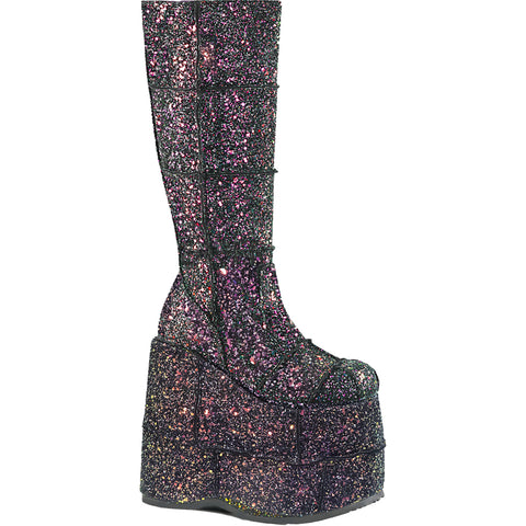 Unisex Demonia STACK-301G Platform Knee High Boot Black Glitter Goth Festival