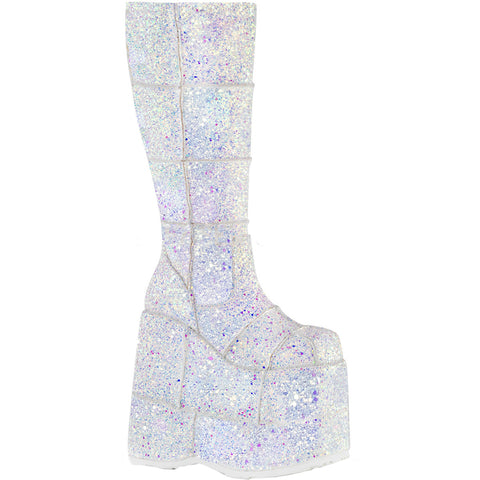 Unisex Demonia STACK-301G Platform Knee High Boot White Club Festival