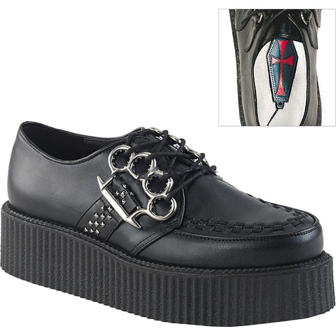 Unisex Demonia V-CREEPER-516 Platform Oxford Creeper Black Brass Knuckles Studs