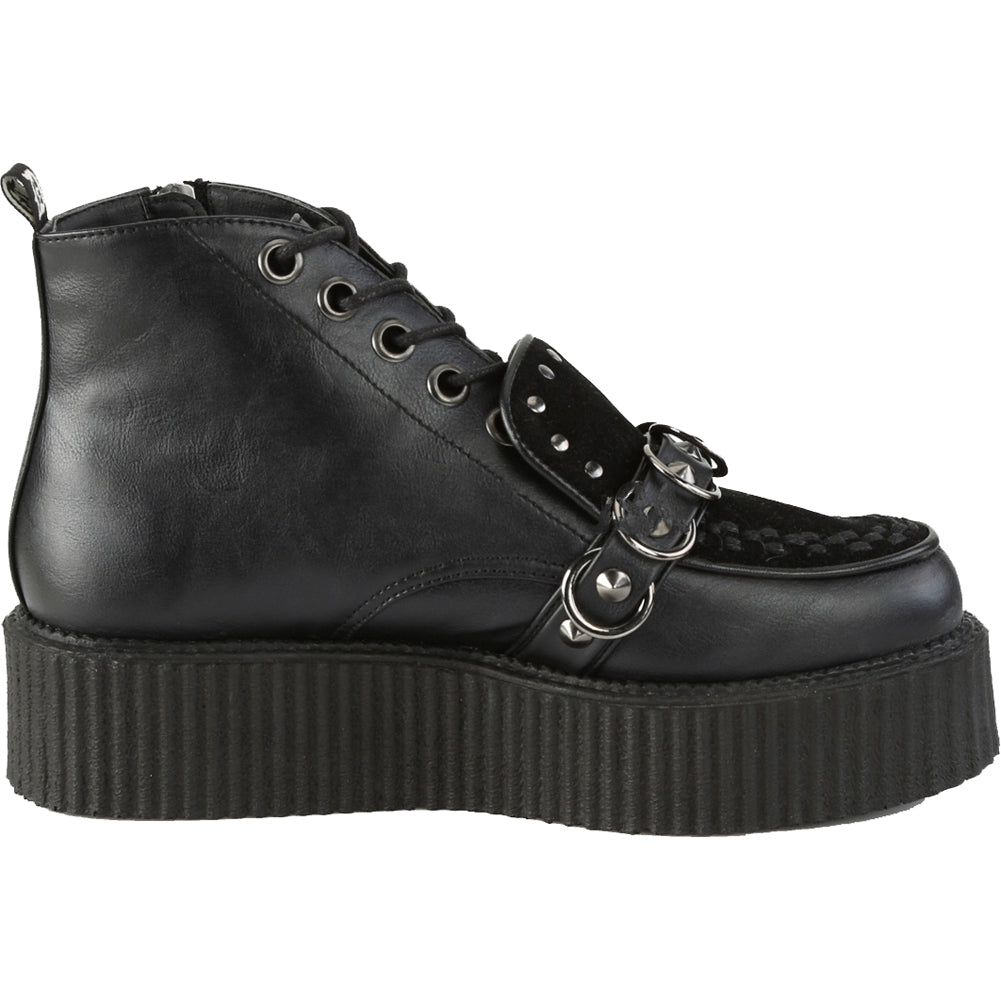 Unisex Demonia V-CREEPER-555 Platform Oxford High-Top Creeper Black Studs Rings