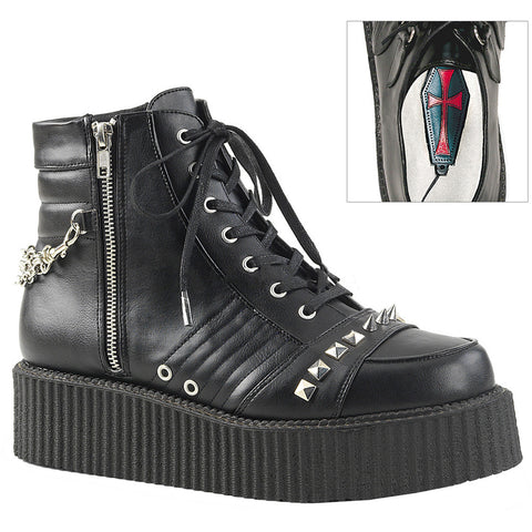 Unisex Demonia V-CREEPER-565 Platform Oxfort Creeper Bootie Black Goth Punk