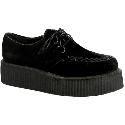 Unisex Demonia V-Creeper-502S Veggie Suede Shoe Black Punk Goth Psychobilly