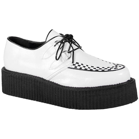Unisex Demonia V-Creeper-502 Shoe White Punk Psychobilly